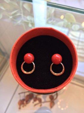 BIDO pierce 〜red coral & pearl〜