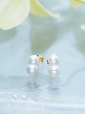 K18  twin akoya pearl  studs pierce (white)