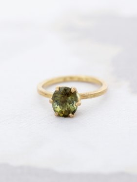 K18  green tourmaline  crown ring