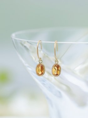 K18 citrine drop pierce