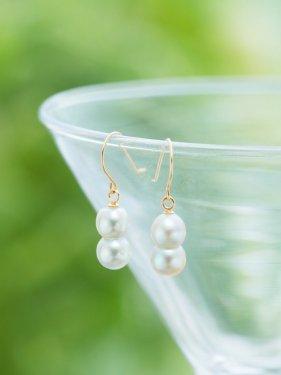 K18  twin akoya pearl  pierce(イヤリング取替可能)