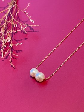 K18  twin akoya pearl  necklace
