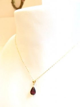 K18  drop garnet pendant top