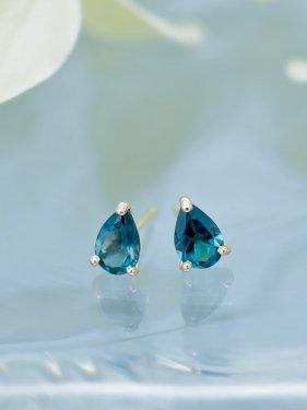 K18 London blue topaz studs pierce(イヤリング取替可能商品)