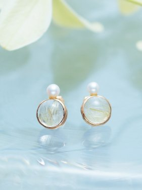 lady buzz pierce 〜rutile quartz〜(イヤリング変更可能)