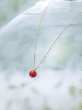 K18 round red coral necklace (40cm)