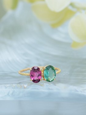 K18 pink&green tourmaline ring