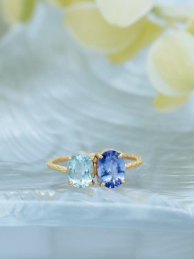 K18 aquamarine&tanzanite ring
