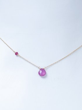 white coral & pink sapphire & side ruby necklace