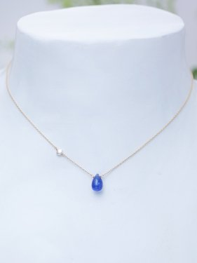 white coral & tanzanite & side pearl necklace