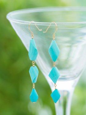 【1点物】K18 three sleeping beauty turquoise long pierce(イヤリング変更可能)
