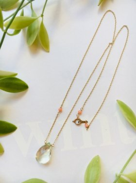 pink coral × green amethyst necklace