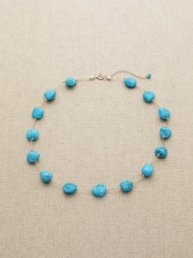 white coral × sleeping beauty turquoise necklace