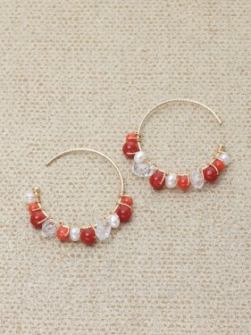 deep red coral×herkmer diamond ×pearl hoop pierce(2cm)