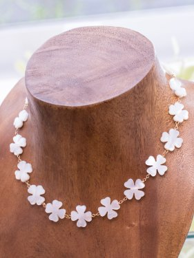 white clover shell eternity necklace