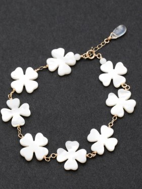 white clover shell eternity bracelet