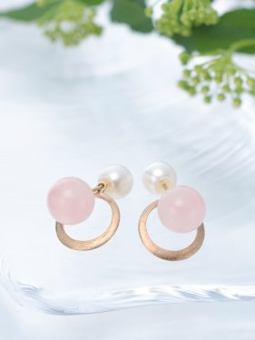 BIDO pierce ~ rose quartz & pearl~