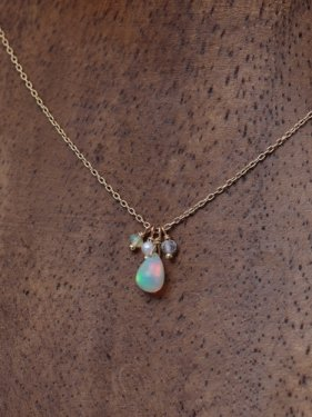 K18 birthdaystone necklace 〜10月opal〜
