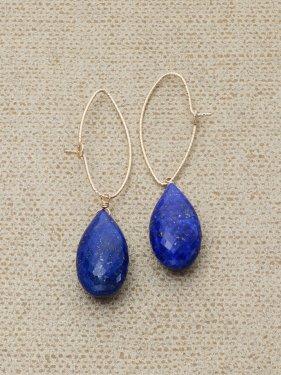 lapis lazuli  marquise cut hoop pierce