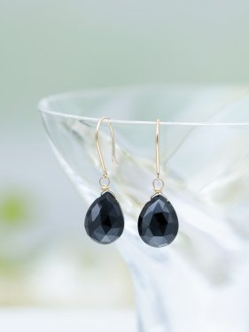 K18 black spinel drop pierce (L)(イヤリング取替無料)