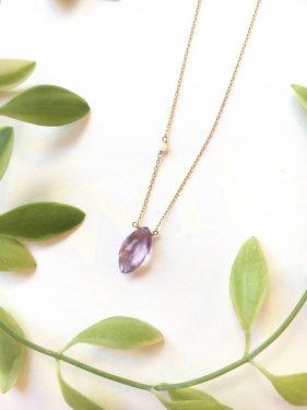 【3月より価格改定】K10  white coral & marquise amethyst  necklace (K18 制作可能)