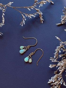 K18 precious opal fringe short earring(イヤリング取替無料)