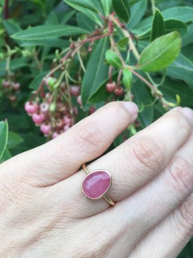 K18 pink sapphire ring