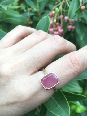 K18 pink sapphire square ring