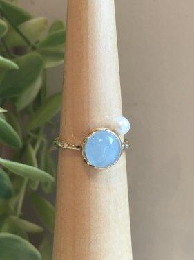 【雑誌掲載】Lady buzz Ring ~aquamarine~(パールオプション有)