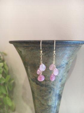 【ラスト1点】K18 maroon pink sapphire  fringe pierce(イヤリング取替可能)