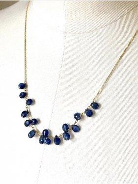 K18 blue sapphire necklace