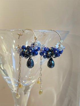 lapis lazuli hoop pierce 〜夜の散歩道〜(イヤリング製作可能)