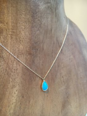 K18 sleeping beauty  turquoise  drop necklace