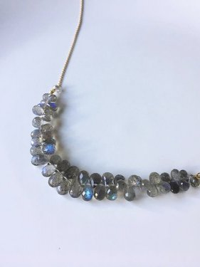 K18 labradolite fringe necklace