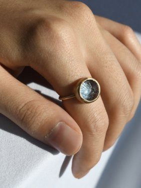 round carving stone ring(blue topaz)