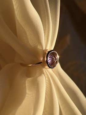 K10 round carving stone ring( amethyst)