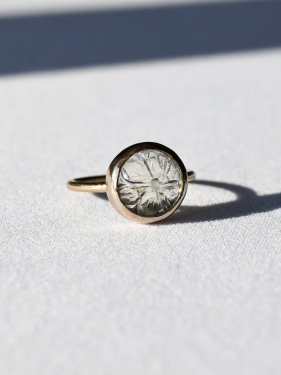 round carving stone ring(greenamethyst)