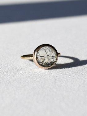round carving stone ring(greenamethyst)