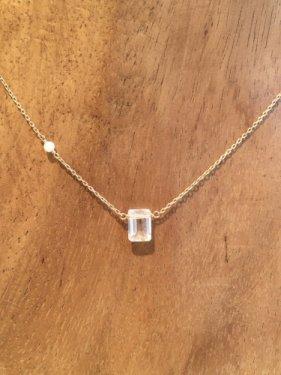 white coral  & white topaz necklace