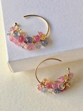 K18 multicolored sapphire hoop pierce(pastel)
