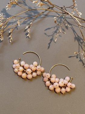 pink opal hoop pierce(2cm)