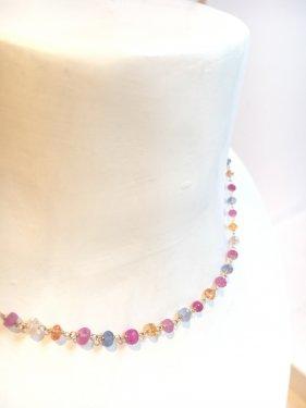 K18 multicolored sapphire necklace(pastel)