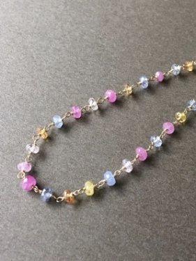 K18 multicolored sapphire bracelet(pastel)