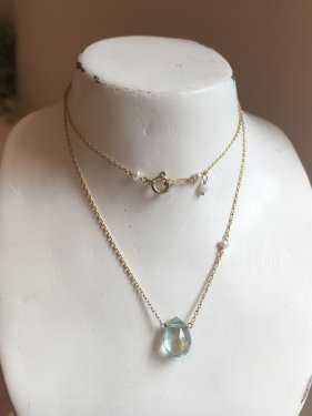 K10 aquamarine necklace(S)〜K18取替可能〜