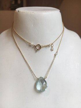 K10 aquamarine necklace(L)〜K18取替可能〜