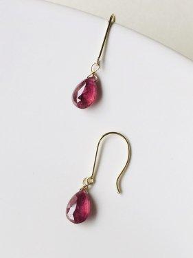 K18 ruby drop pierce (S) (イヤリング製作可能)
