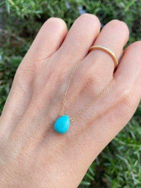 【1点物】K18 turquoise pearshape necklace