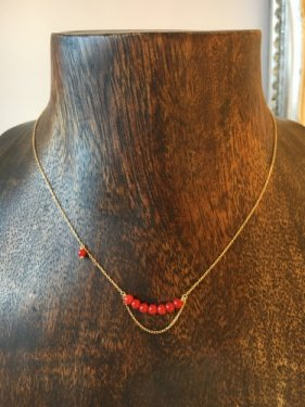 K18   deep red coral chian necklace