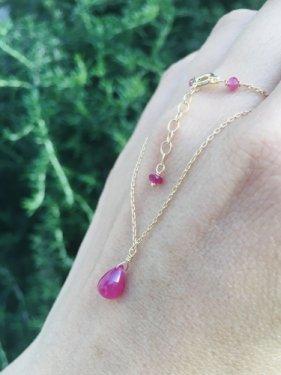 K18 ruby drop necklace