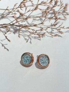 round carving stone studs pierce 〜blue topaz〜(イヤリング取替可能)